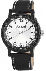 Armbanduhr Silber Schwarz Kunstleder Fame