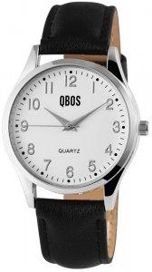 Armbanduhr Weiss Silber Schwarz Kunstleder QBOS