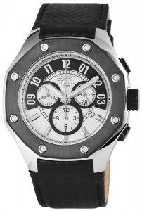 Armbanduhr Silber Anthrazit Schwarz Leder ESPRIT EL101291F02