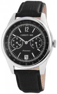 Armbanduhr Schwarz Silber Leder CERRUTI CRA074A2221