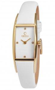 Armbanduhr Weiss Gold Leder OBAKU V150LGIRW