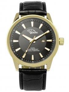 Armbanduhr Schwarz Gold Leder Gooix GX-06003-00D