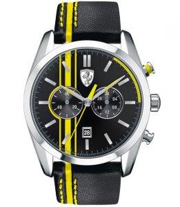 Armbanduhr Schwarz Gelb Leder Chronograph Ferrari 0830235