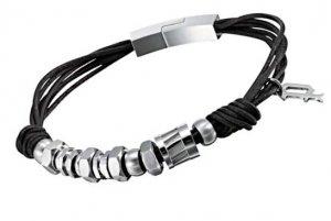 Armband Schwarz Silber Leder 19 cm POLICE PJ22295BLB/01-19