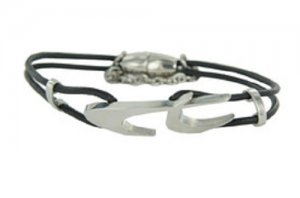 Armband Schwarz Silber Leder Chronotech