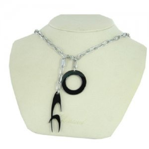 Modeschmuckkette Silber Schwarz Edelstahl Chronotech