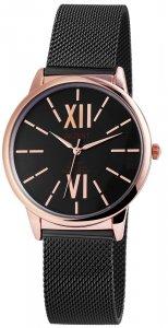 Armbanduhr Schwarz Rosé Metall Akzent