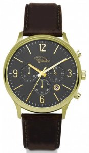 Armbanduhr Schwarz Gold Braun Leder Chronograph HUA-05919 Gooix