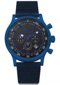Armbanduhr Schwarz Blau Leder Chronograph Gooix HUA-05912