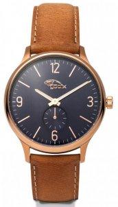 Armbanduhr Blau Gold Braun Leder Gooix HUA-05878