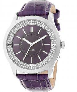 Armbanduhr Lila Silber Crystal Leder ESPRIT ES103812003