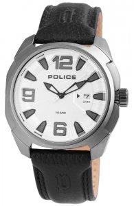 Armbanduhr Silber Schwarz Leder POLICE PL.13836JSU/04
