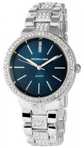 Armbanduhr Blau Silber Crystal Excellanc