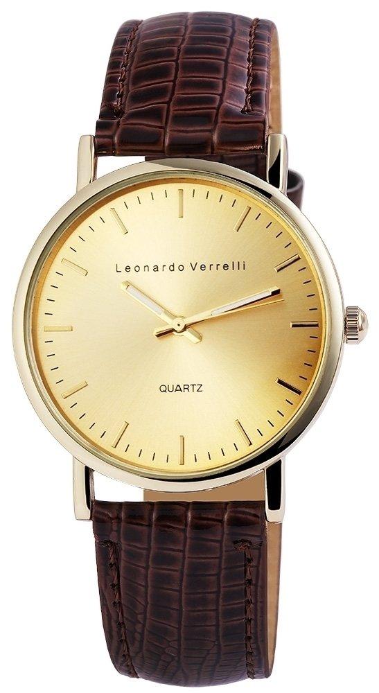 Armbanduhr Gold Braun Kunstleder Leonardo Verrelli