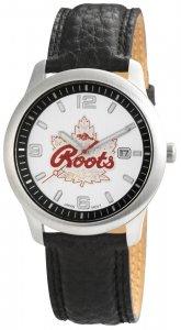 Armbanduhr Silber Schwarz Datum Leder ROOTS R721LSIL