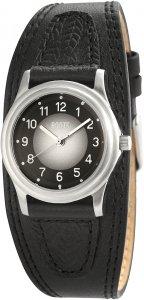 Armbanduhr Schwarz Silber Leder ROOTS R799LBLK