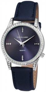 Armbanduhr Blau Silber Crystal Kunstleder Excellanc