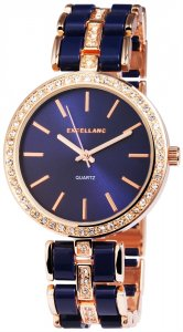 Armbanduhr Blau Rosé Crystal Metall Excellanc