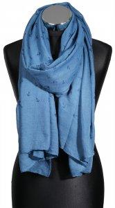 Schal Tuch 80 x 180 cm Blau Hellblau Anker