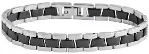 Armband Silber Schwarz Edelstahl Keramik Akzent