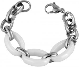 Armband Silber Weiss Edelstahl Keramik Akzent