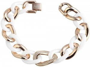 Armband Gold Weiss Edelstahl Keramik JUST 48-S0350RG-WH