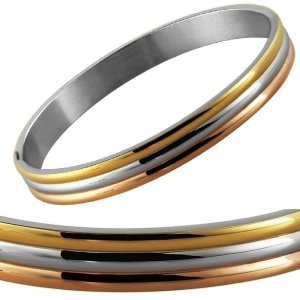 Armreifen Gold Silber Rosé Edelstahl Akzent 63mm