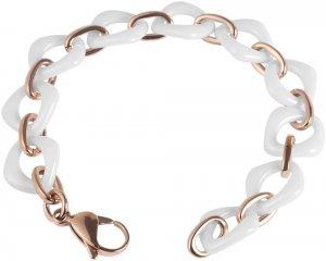 Armband Rosé Weiss Edelstahl Keramik JUST 48-S1466RG-WH