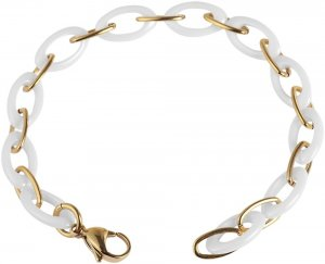 Armband Gold Weiss Edelstahl Keramik JUST 48-S1511GD-WH