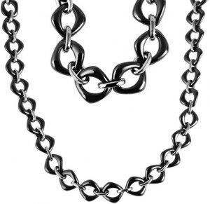 Halskette Silber Schwarz Edelstahl Keramik JUST 48-S1465-BK