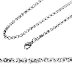 Halskette Erbskette Silbern Edelstahl Akzent 60cm
