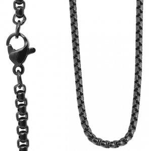 Halskette Erbskette Schwarz Edelstahl Akzent 50cm