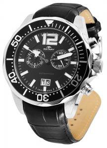 Armbanduhr Schwarz Chronograph Leder ROTARY AGS90050/C/04