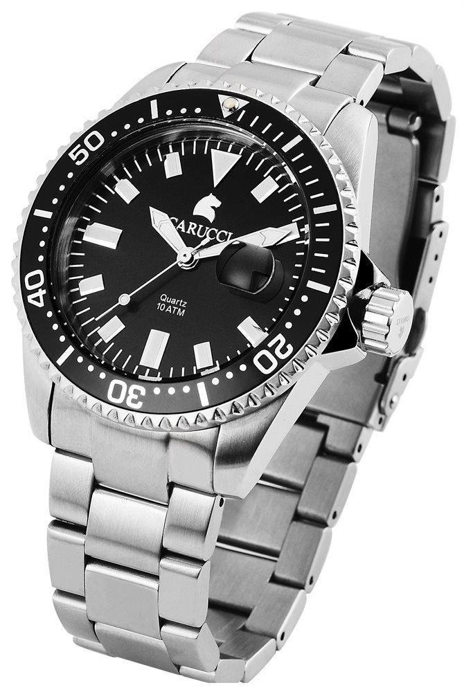 Armbanduhr Schwarz Silber Edelstahl CARUCCI CA2217
