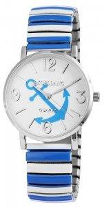 Armbanduhr Blau Weiss Silber Metall Zugband Excellanc