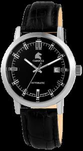 Armbanduhr Schwarz Silber Leder CARUCCI CA2195BK