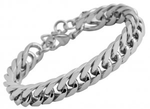 Armband Panzerkette Silber Edelstahl glänzend Akzent 21,5cm