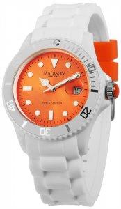 Armbanduhr Orange Weiss Silikon Datum Madison U4359F1