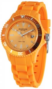 Armbanduhr Orange Silikon Datum Madison U4167-22
