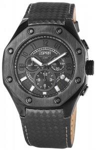 Armbanduhr Anthrazit Schwarz Leder ESPRIT EL101291F05