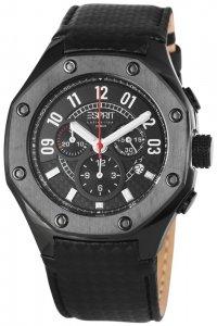 Armbanduhr Anthrazit Schwarz Leder ESPRIT EL101291F03