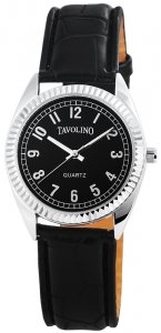 Armbanduhr Schwarz Silber Leder Tavolino