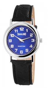 Armbanduhr Blau Silber Schwarz Leder Tavolino