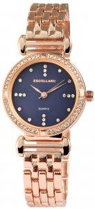 Armbanduhr Blau Rosé Crystal Metall Excellanc 1800040