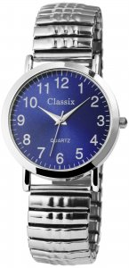 Armbanduhr Blau Silber Metall Zugband Classix 2700007