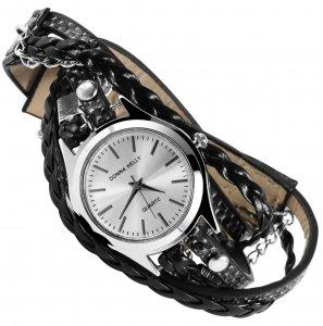 Armbanduhr Silber Schwarz Kunstleder Wickelarmband Donna Kelly