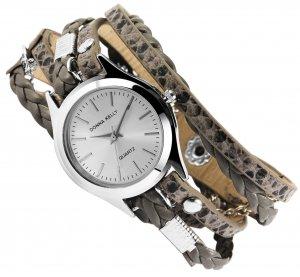 Armbanduhr Silber Grau Kunstleder Wickelarmband Donna Kelly