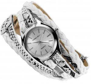 Armbanduhr Silber Weiss Schwarz Wickelarmband Donna Kelly