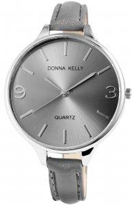 Armbanduhr Grau Silber Kunstleder Donna Kelly