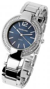 Armbanduhr Blau Silber Crystal Metall Excellanc